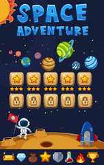 Game template with space adventure background