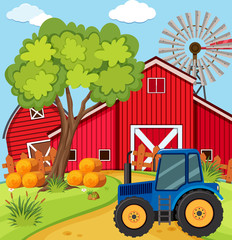 Scene with blue tractor on the farm