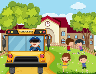 School scene with bus driver and kids in park