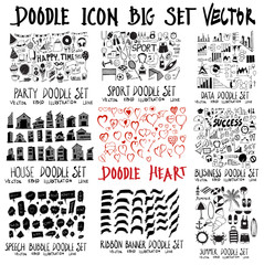 MEGA set of doodles vector. Collection of Party, House, speech, sport, heart, ribbon, data, business, summer travel eps10