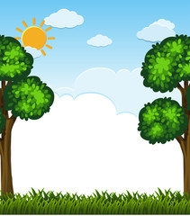 Background scene with trees and grass