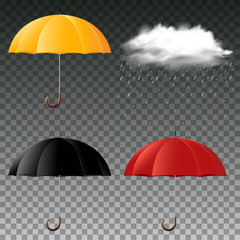Umbrella in three colors and rainy cloud
