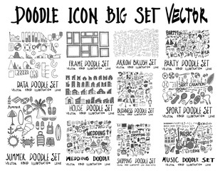 MEGA set of doodles vector. Collection of Data, Frame, Arrow, Party, Summer, House, Wedding, Business, Shopping, Sport, Music eps10