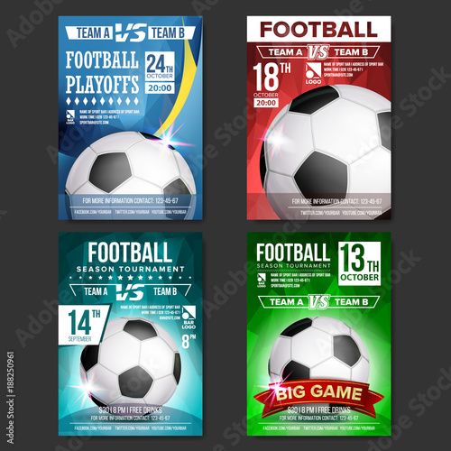 Soccer Poster Set Vector Design For Sport Bar Promotion Football
