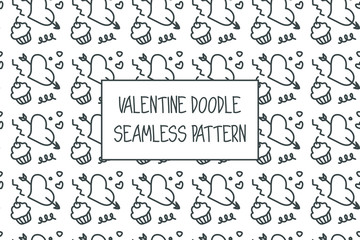 Valentine doodle pattern. Design of hand drawn elements for St. Valentine's day, wedding, proposal.