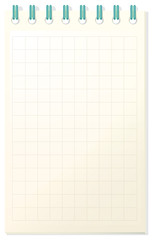 Notebook template with grid paper