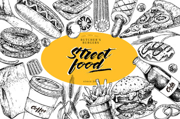 Hand drawn fast food banner. Street food bakery Burger, hot dog, french fries, pizza, coffee, soda, bagel, donut, waffels. engraved vector illustration. restaurant, menu, street food, flyer, poster