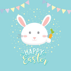 Happy Easter party poster, Invitation card with rabbit hold carrot.