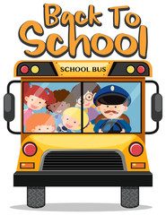 Back to school theme with kids on school bus