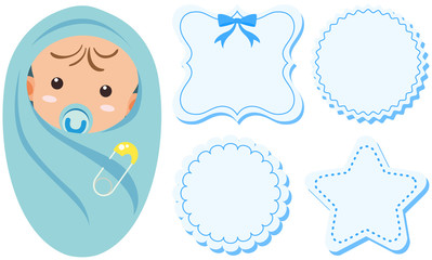 Baby boy and label design in blue color