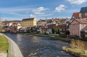 River flows along the town of Cesky Krumlov