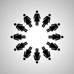 Woman silhouettes arranged in round dance, simple black human icons