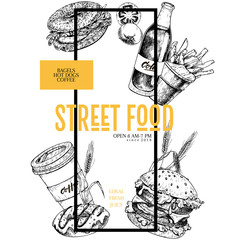 Hand drawn fast food banner. Street food creative flyer. Burger, soda, bagel, french fries, coffee and donut, wheat, tomato engraved vector illustration. restaurant, menu street food flyer poster