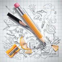 Vector realistic pencils, sharpener, shavings on notebook paper with colored sketch creative education, science, school doodles symbols. Concept of idea, study, research and development illustration