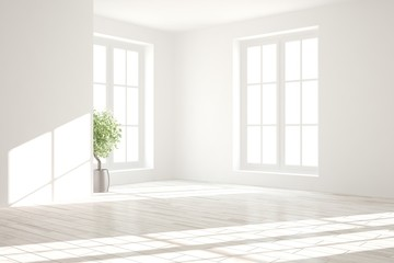 White empty room. Scandinavian interior design. 3D illustration Wall mural