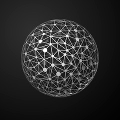 Global connections metallic sphere on dark background, abstract communication concept