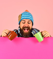 Breakfast time idea. Hipster with beard and cheerful face