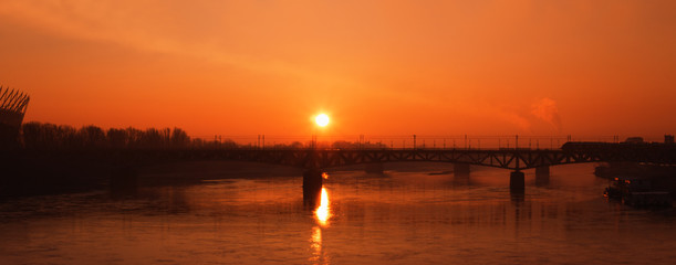 Warsaw sunrise over Vistula - panorama