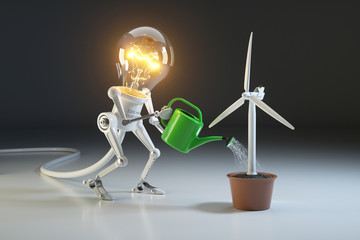 Robot lamp watering wind generator in a pot. The concept of environmental protection