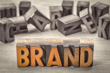brand word  in letterpress wood type