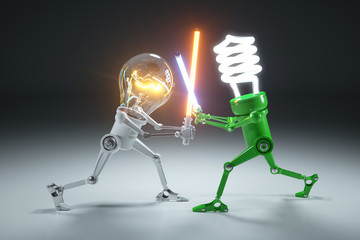 Confrontation cartoon personages bulb light and LED light lamps in style Star Wars