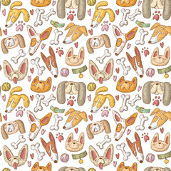 seamless vector pattern with dogs