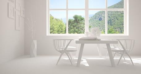 White dinner room with green landscape in window. Scandinavian interior design. 3D illustration