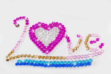 Wall Mural - wrote love with colorful diamonds