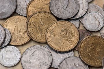 collection of cash coins of different denomination of america