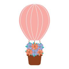 air ballon basket flowers romance vector illustration
