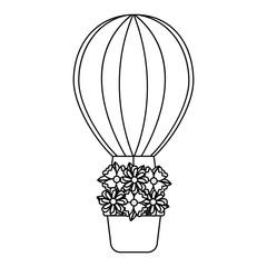 air ballon basket flowers romance vector illustration outline