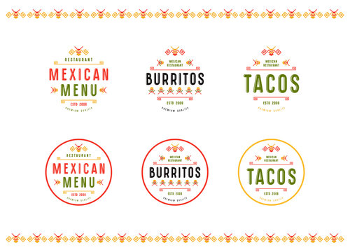 Set of label, logo and badge for mexican restaurant