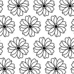 seamless pattern flower natural decoration vector illustration outline