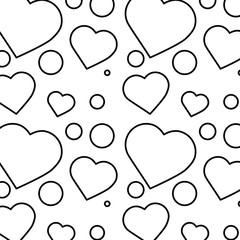 romantic heart love pattern image vector illustration outline