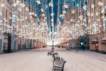 Night view of the street on the New Year holidays