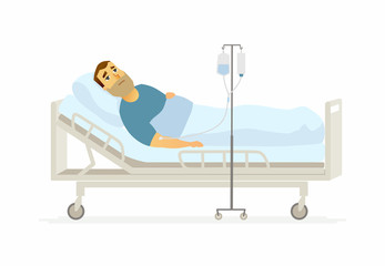 Man in hospital on a drip - cartoon people characters illustration