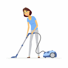 Young woman with a vacuum cleaner - cartoon people characters illustration