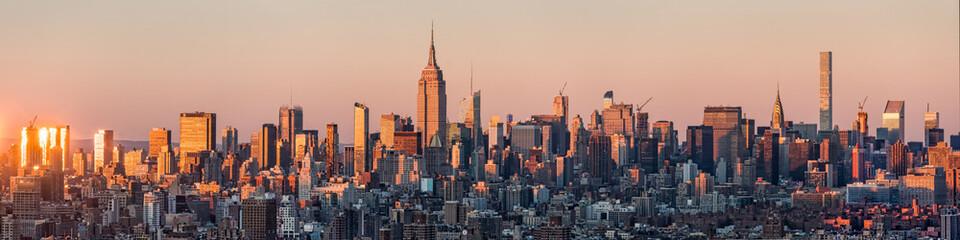 Fotomurales - New York Skyline Panorama bei Sonnenuntergang, USA