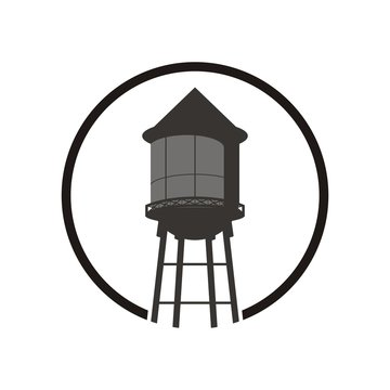 Water tower logo design template vector illustration