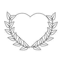 love heart wreath emblem romantic image vector illustration sticker design