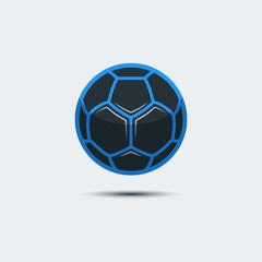 Soccer Football Logo Template. Creative Sport Ball Emblem with Polygon Design on a Light Background