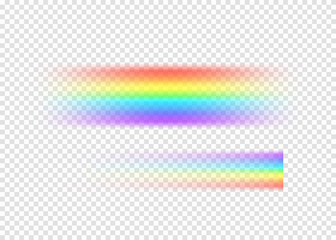 Rainbow string with limpid section edge isolated on transparent background