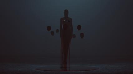 Dark Floating Evil Spirit Dripping Blood with the power of telekinesis 3d Illustration 3d Rendering