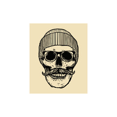 Monochrome Hipster skull with mustache, eyeglasses and winter hat
