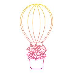 air ballon basket flowers romance vector illustration line color