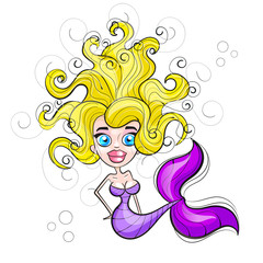 Mermaid with flowing hair
