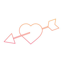 love heart pircied arrow valentine day romantic vector illustration line color