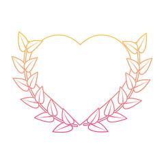 love heart wreath emblem romantic image vector illustration line color