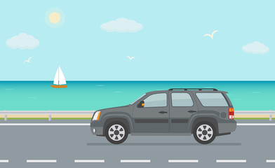 Gray off road car on the road near the sea. Vector illustration.