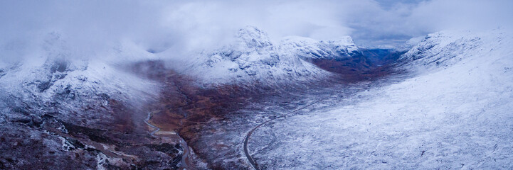 landscape view of scotland and glencoe from an aerial viewpoint in panoramic landscape format
